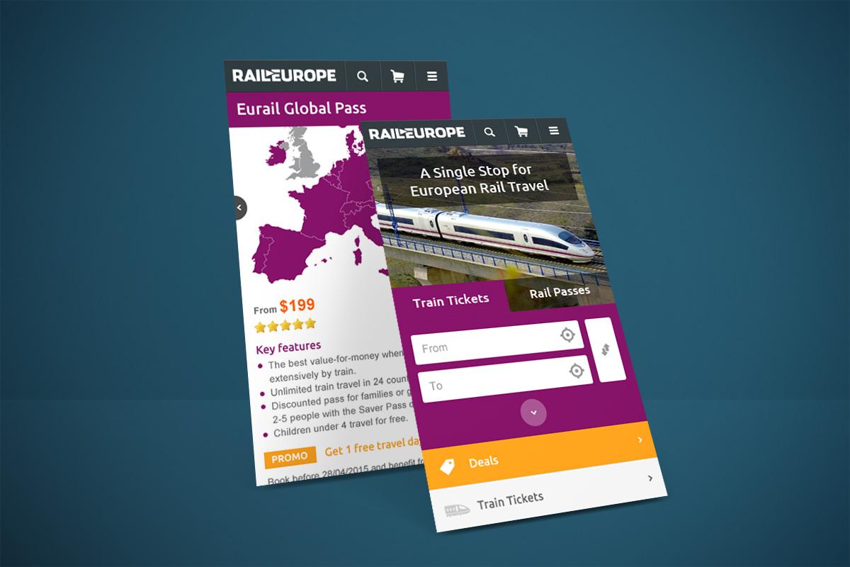Création graphique Site internet mobile Rail Europe